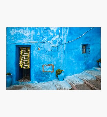 Blue Wall with Green Curtain Photographic Print