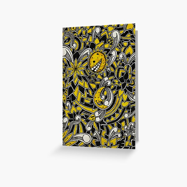 Yellow Floral Pattern Greeting Card