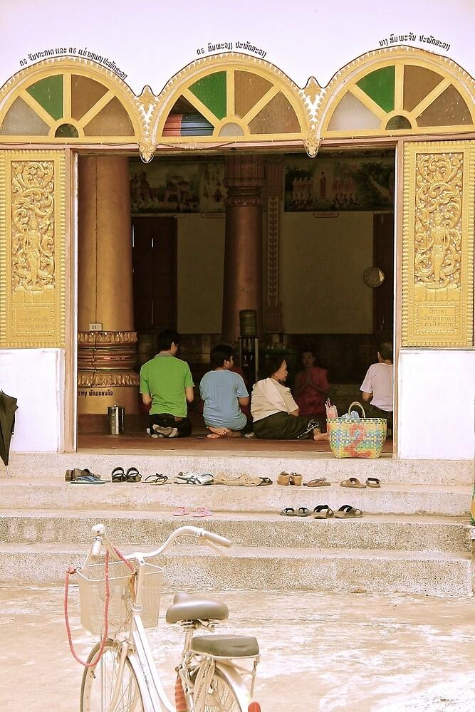 Prayer Time - Vientiane, Laos. by Tiffany Lenoir