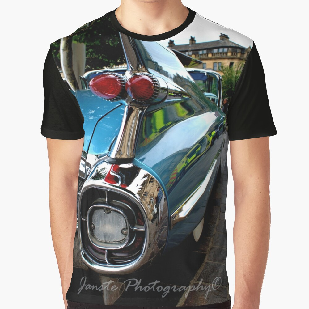 Classic Car - Blue Classic American Car Cadillac Tail Fin Picture Graphic T-Shirt