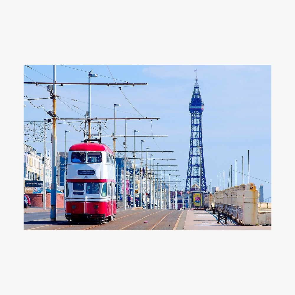 Classic Vintage Heritage Blackpool Tram with Blackpool Tower Photographic Print