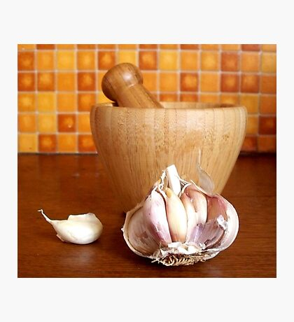 Bamboo mortar and garlic Photographic Print