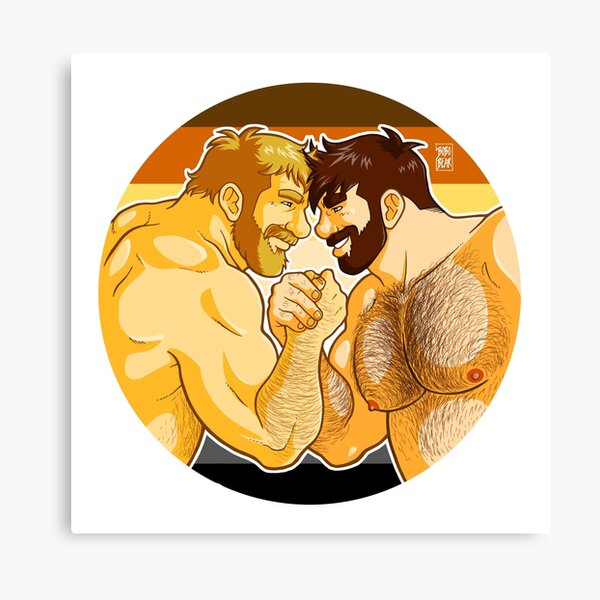 ADAM AND MIKE LIKE ARM WRESTLING BEAR PRIDE - CIRCLE Canvas Print