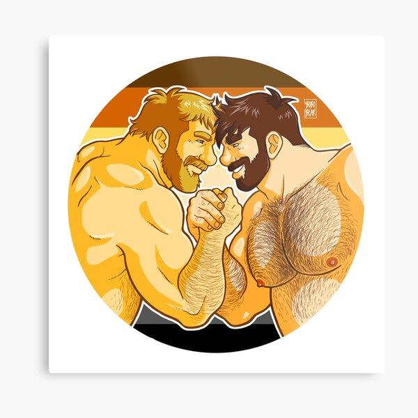 ADAM AND MIKE LIKE ARM WRESTLING BEAR PRIDE - CIRCLE Metal Print