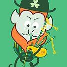 St Patrick's Day Leprechaun playing Irish bagpipe by Zoo-co