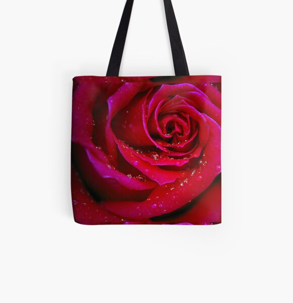 Drops on a Rose All Over Print Tote Bag