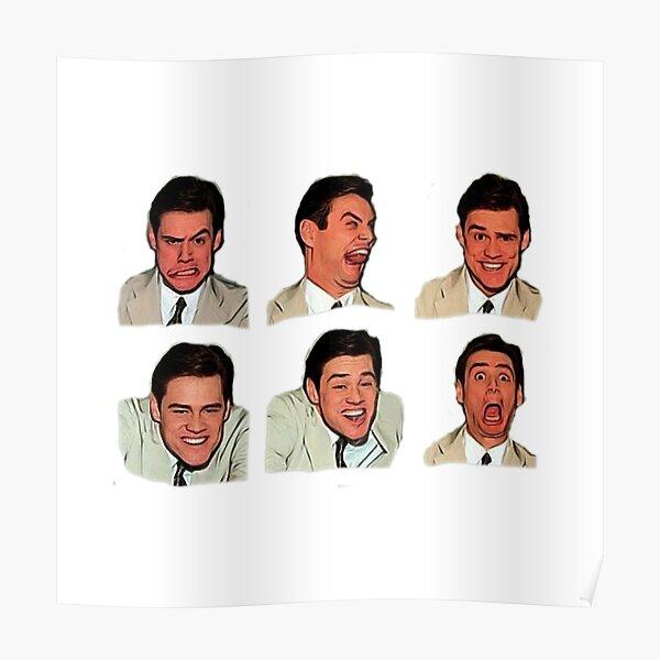 Jim Carrey faces, cartoon digital artwork, cool funny comedy movies, famous actors, good vibes, gift, present, ideas, sticker set, sticker pack, bundle Poster