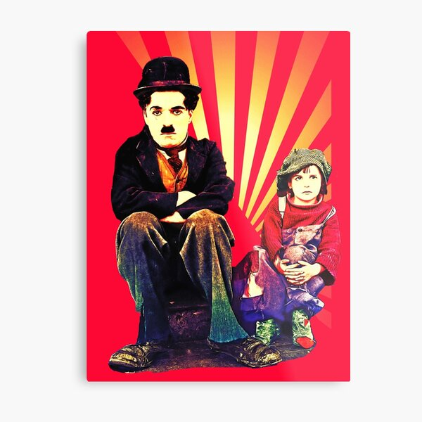 The Tramp and the Kid Metal Print