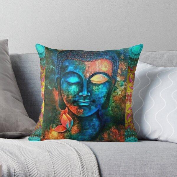 Beautiful Colorful Buddha Throw Pillow