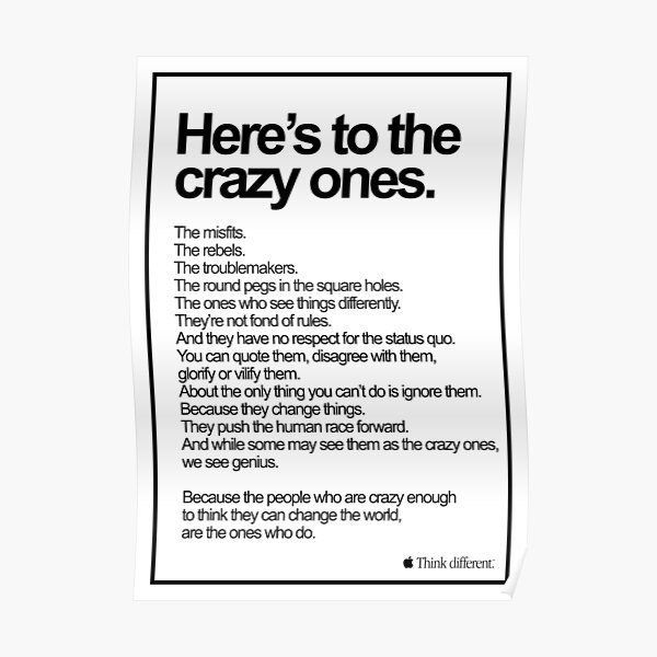 Apple Think Different Here's To The Crazy Ones Poster