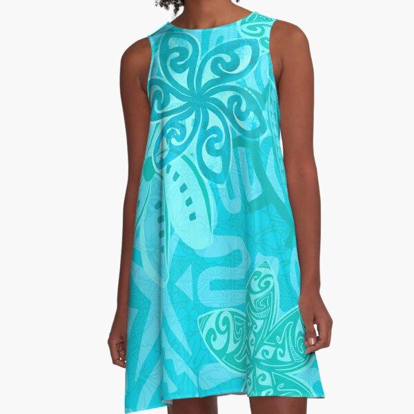 Polynesian Ocean Turqoise Jungle Print A-Line Dress