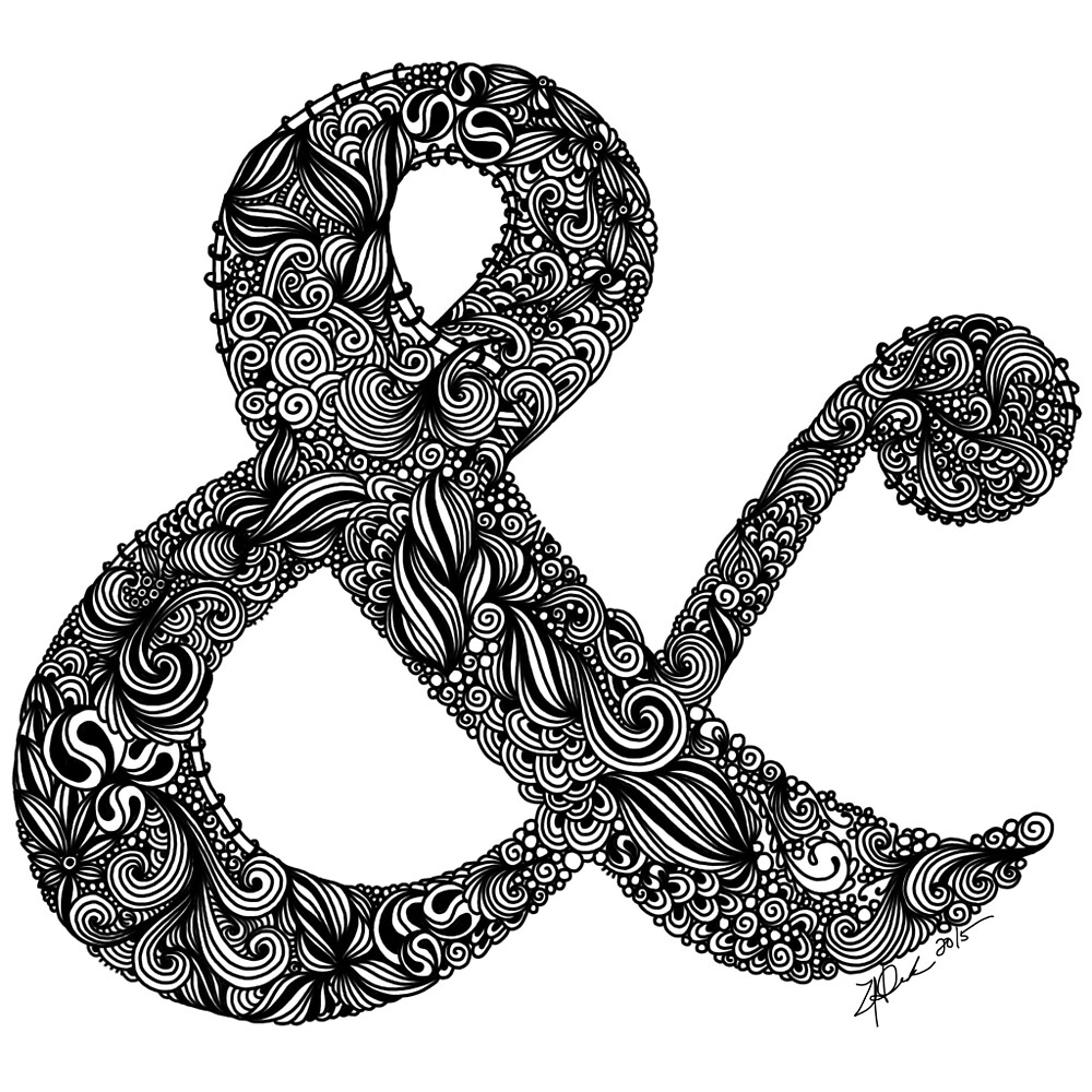 Black and White Intricate Ampersand by zeelv