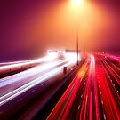 Highway traffic light trails in fog at nighttime art photo print by ArtNudePhotos