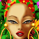 Caribbean Beauty Exotic Girl Portrait Digital Drawing  by BluedarkArt