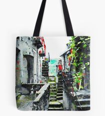 Glimpse of an alley with stairs Tote Bag