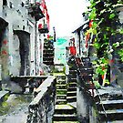 Glimpse of an alley with stairs by Giuseppe Cocco