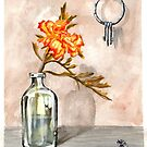 marigold in antique jar with old keys, 1 of 2 by resonanteye