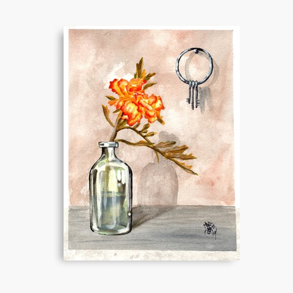 marigold in antique jar with old keys, 1 of 2 Canvas Print