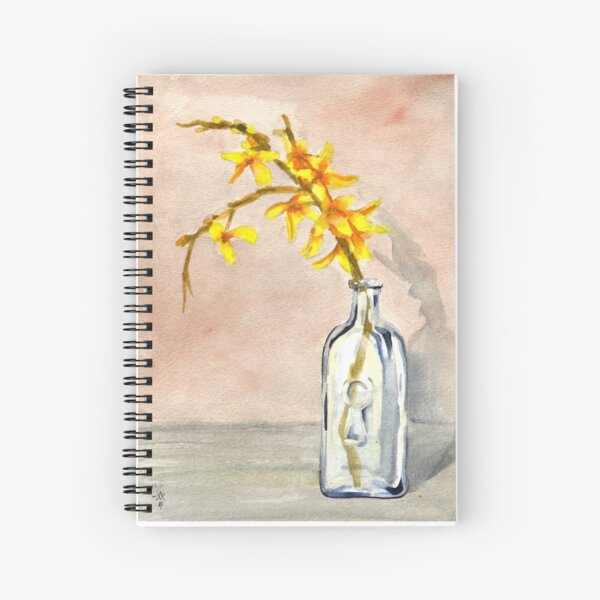 forsythia in antique jar with keyhole stamp, 2 of 2 Spiral Notebook