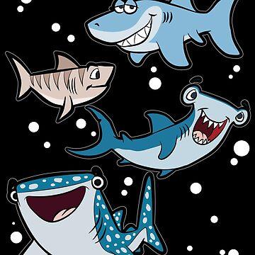 4 TYPES OF SHARK Baby Shark Hammerhead Catshark by Moonpie90