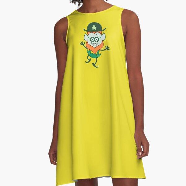 St Patrick's Day Leprechaun wearing funky clover glasses A-Line Dress