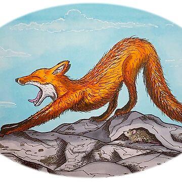 Stretching Fox by Wildharegrafix