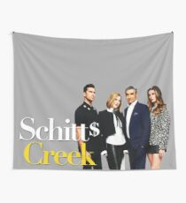 Schitt's Creek, Rose family, tv show, funny, cool, logo, white, yellow, film, actor, celebrity, comedy, humor, good vibes, gift, present, ideas Wall Tapestry
