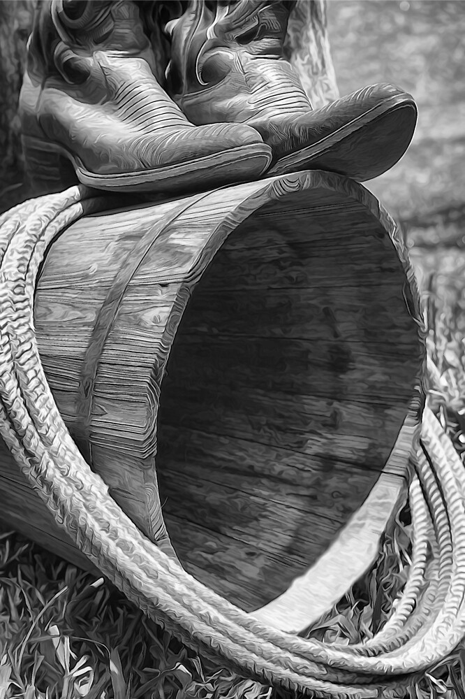 Black and White Cowboy Boots by photosbypamela