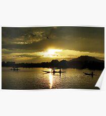 Sunset in Srinagar lake, India Poster