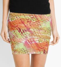 Abstract Melon Tones Grid Mini Skirt