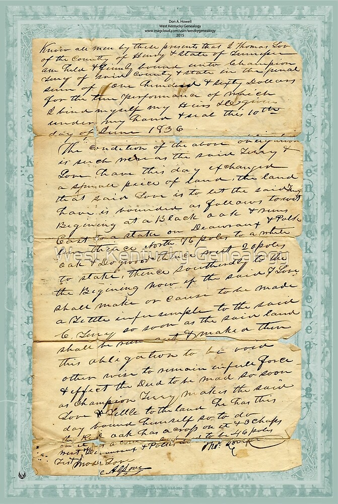 """1836 Thomas Love """"Title Bond for land"""" to Champion Terry (front) by Don A. Howell"""