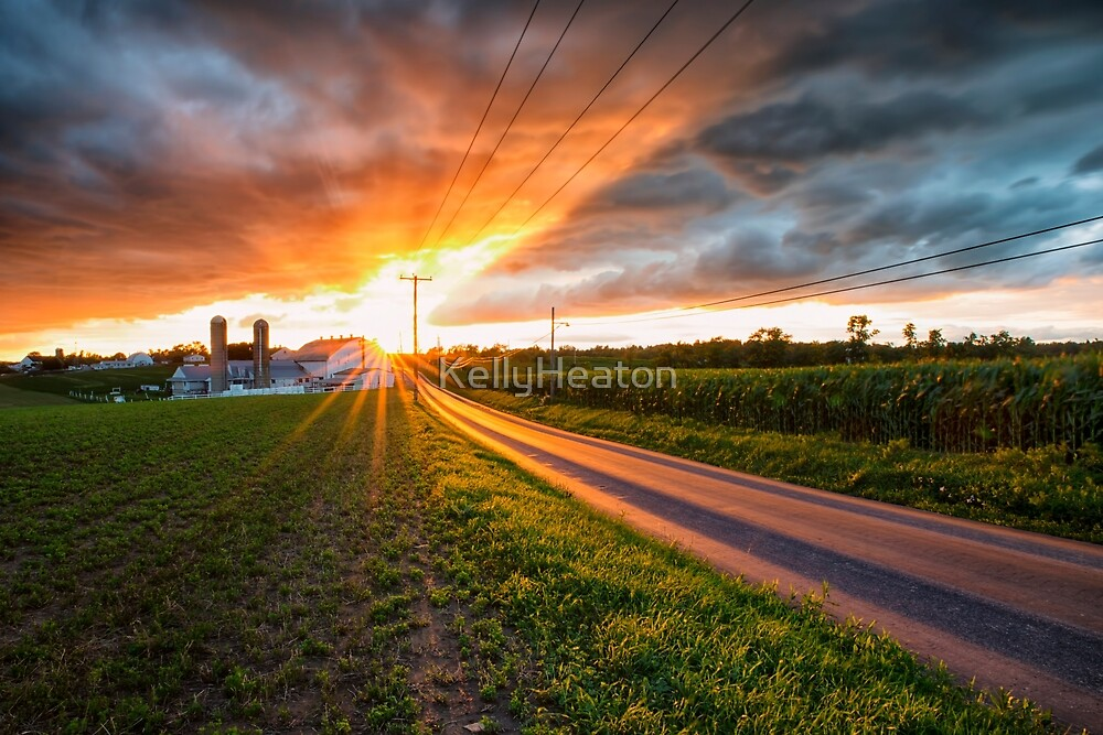 Farm and Road Sunset by KellyHeaton