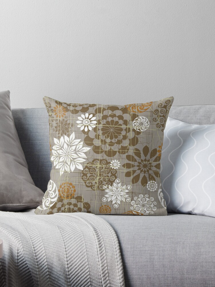 Abstract Floral Circles Grey by SpiceTree