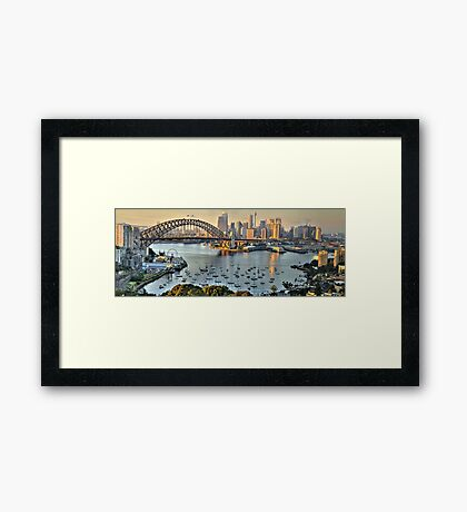 Morning Light - Sydney Harbour(50 Exposure HDR Pano) -The HDR Experience Framed Print