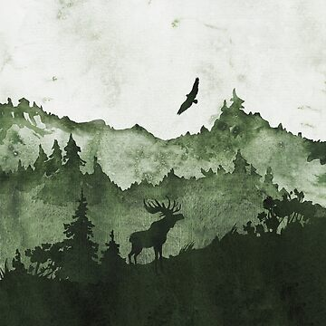 Forest Scene | Watercolor Green Foggy Landscape by PraiseQuotes