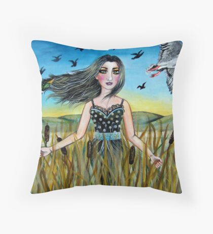 Among the Cattails Throw Pillow