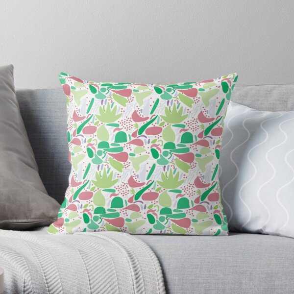 Colorful shapes - Green on White Background Throw Pillow