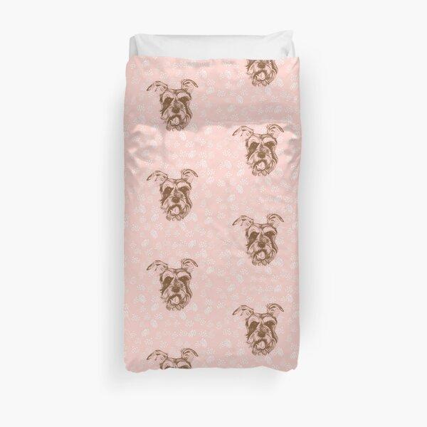 Miniature Schnauzer Pink & Brown Duvet Cover