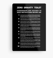 Lienzo metálico Baño de gravedad cero - Completo (texto blanco)