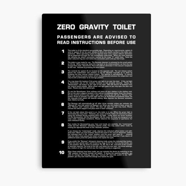 Zero Gravity Bathroom - Full (white text) Metal Print