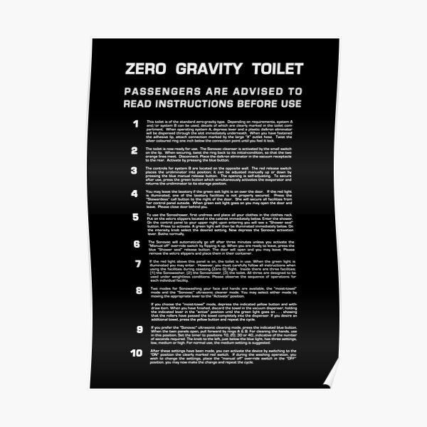 Zero Gravity Bathroom - Full (white text) Poster