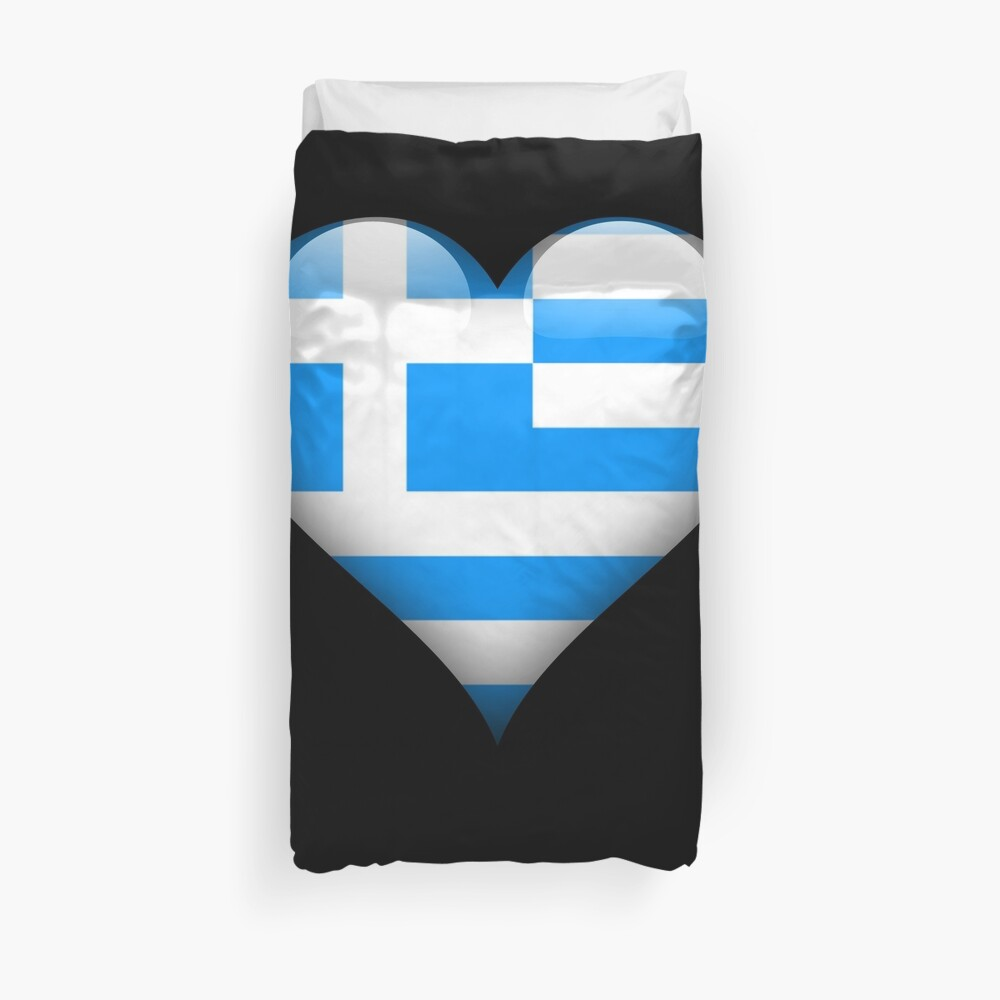Greece Flag Heart Gift For Greek That Loves Greece Funda nórdica