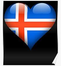 Iceland Flag Heart Gift For Icelandic That Loves Iceland Poster