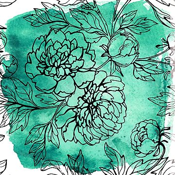 Teal Green with Flowers | Watercolor by PraiseQuotes