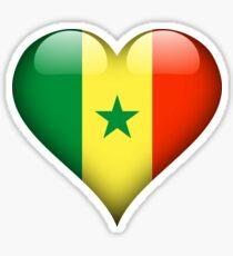 Senegal Flag Heart Gift For Senegalese That Loves Senegal Sticker