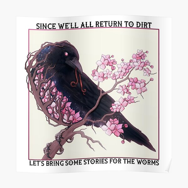 Cherry Blossom Crow with text Poster