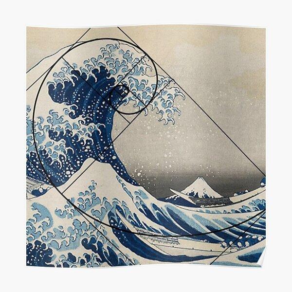 Great Wave of Kamagawa - Fibonacci Spiral Poster