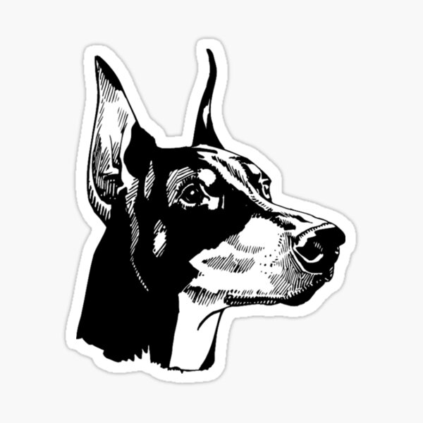 Doberman Pinscher - Doberman Pinscher Painting - Doberman Pinscher Gift - Dog Lover Gift Sticker