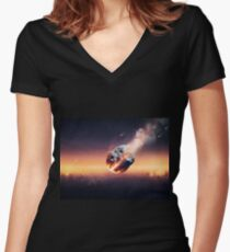 City destroyed by meteor shower Women's Fitted V-Neck T-Shirt
