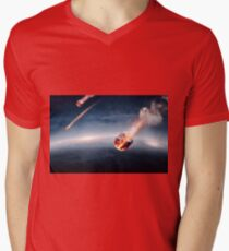 Meteorites on their way to earth Mens V-Neck T-Shirt
